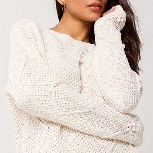 Soft Chenille Beach Sweater Pom Accent Color Cream
